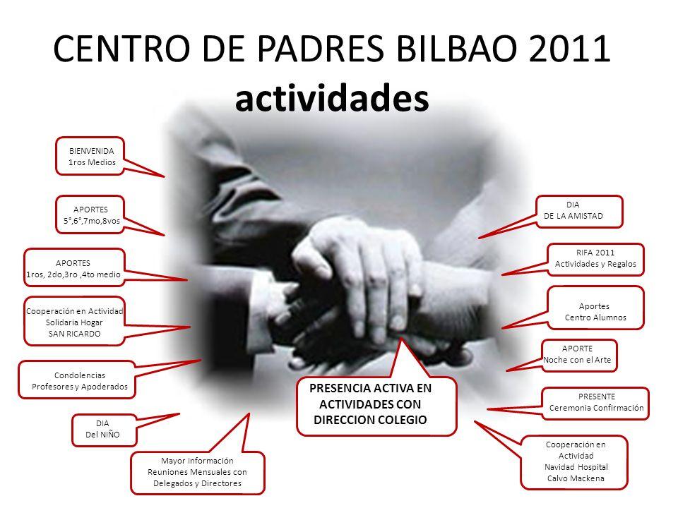 CENTRO DE PADRES BILBAO 2011 actividades APORTES 5°,6°,7mo,8vos DIA Del NIÑO APORTES 1ros, 2do,3ro,4to medio Cooperación en Actividad Solidaria Hogar