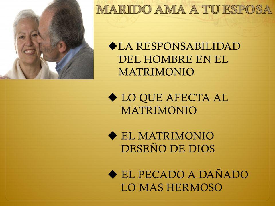 LA RESPONSABILIDAD DEL HOMBRE EN EL MATRIMONIO LO QUE AFECTA AL MATRIMONIO EL MATRIMONIO DESEÑO DE DIOS EL PECADO A DAÑADO LO MAS HERMOSO