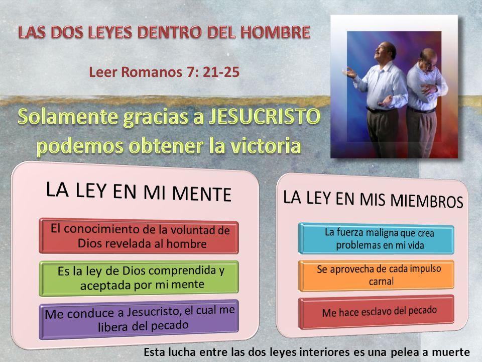 Leer Romanos 7: 21-25 Esta lucha entre las dos leyes interiores es una pelea a muerte