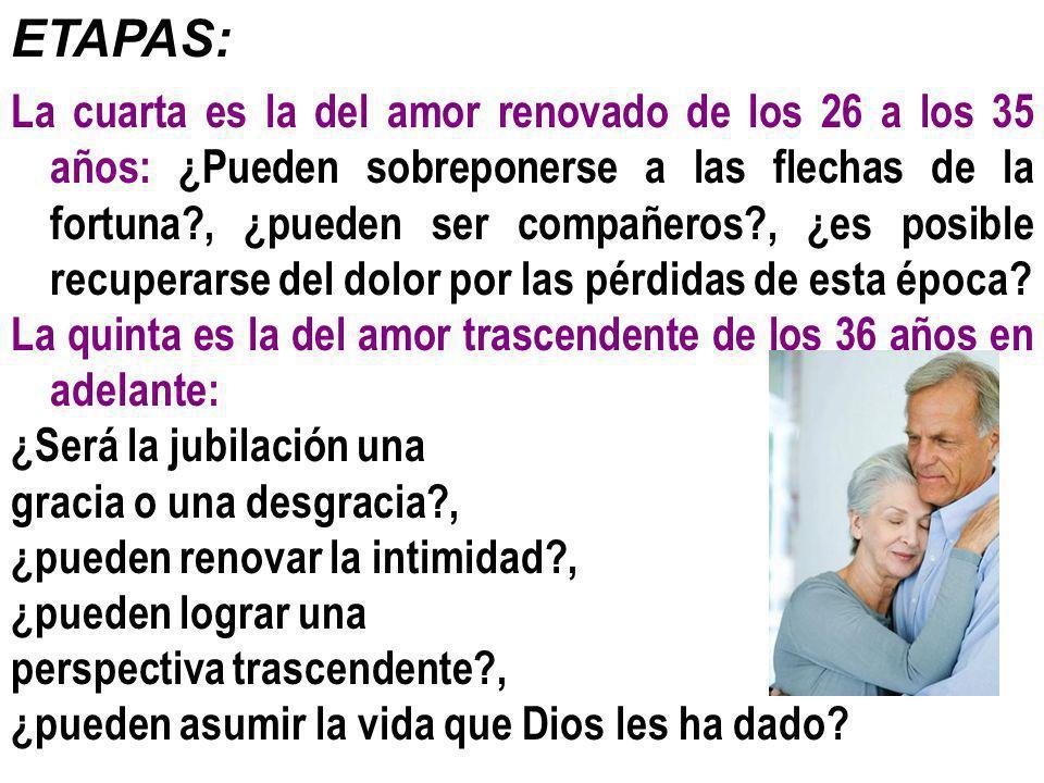 ETAPAS: La cuarta es la del amor renovado de los 26 a los 35 años: ¿Pueden sobreponerse a las flechas de la fortuna?, ¿pueden ser compañeros?, ¿es pos