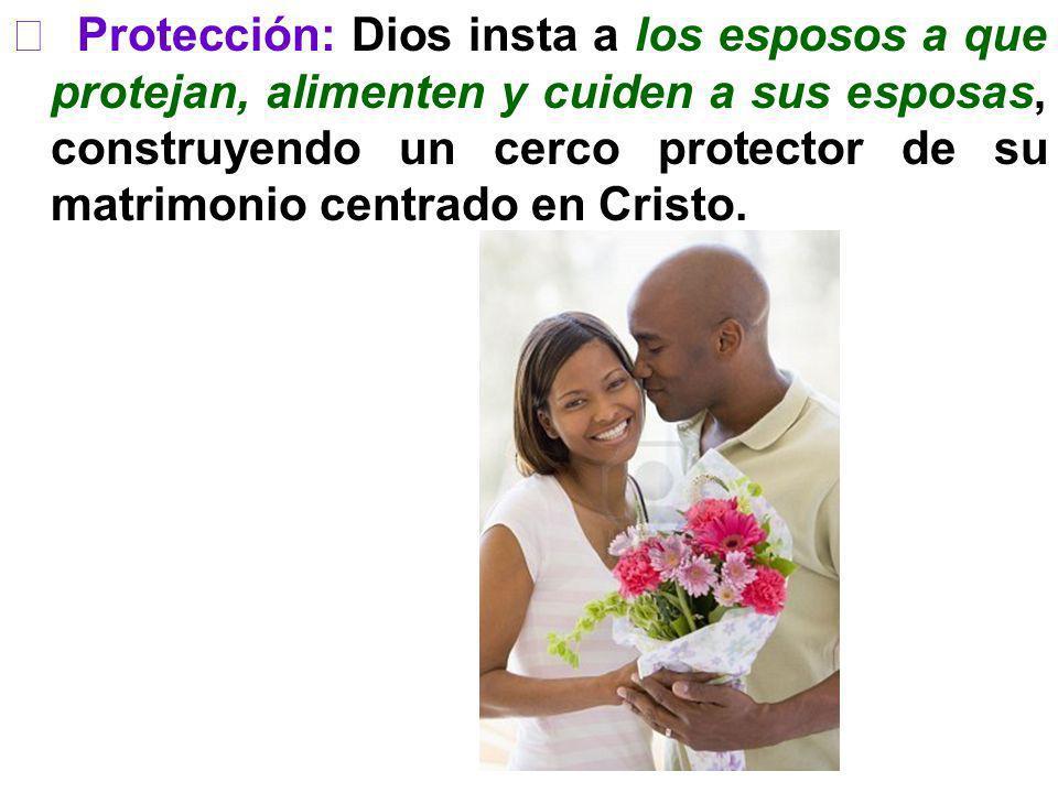 Protección: Dios insta a los esposos a que protejan, alimenten y cuiden a sus esposas, construyendo un cerco protector de su matrimonio centrado en Cr