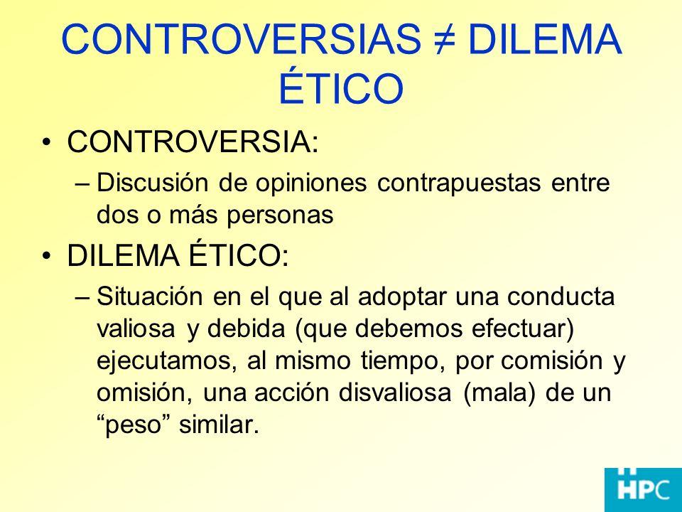 CONTROVERSIAS DILEMA ÉTICO CONTROVERSIA: –Discusión de opiniones contrapuestas entre dos o más personas DILEMA ÉTICO: –Situación en el que al adoptar