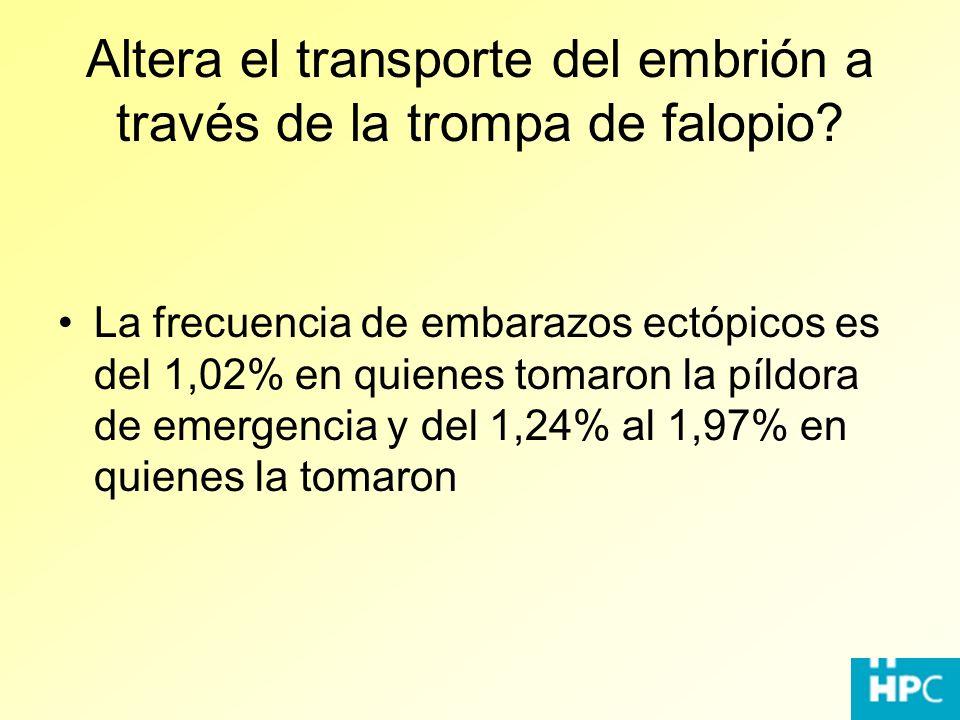 Altera el transporte del embrión a través de la trompa de falopio? La frecuencia de embarazos ectópicos es del 1,02% en quienes tomaron la píldora de