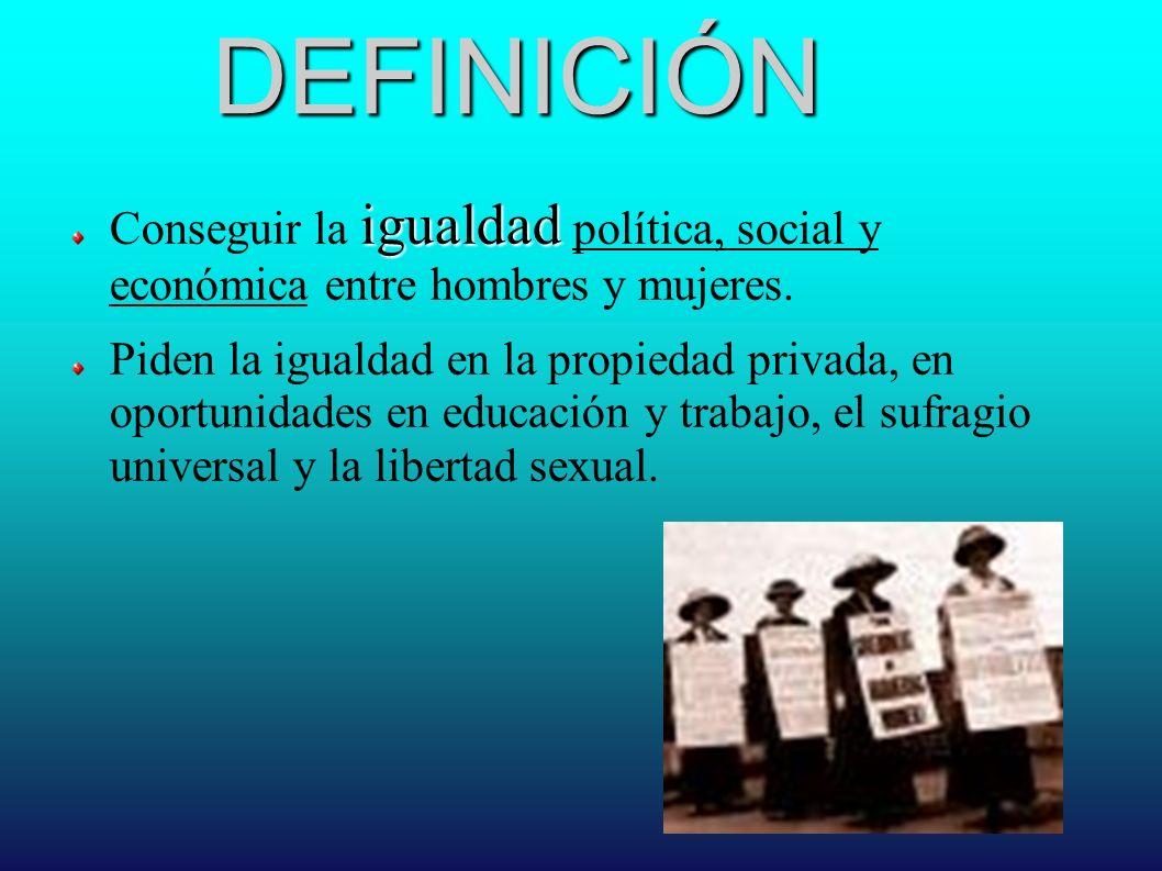 DEFINICIÓN igualdad Conseguir la igualdad política, social y económica entre hombres y mujeres. Piden la igualdad en la propiedad privada, en oportuni