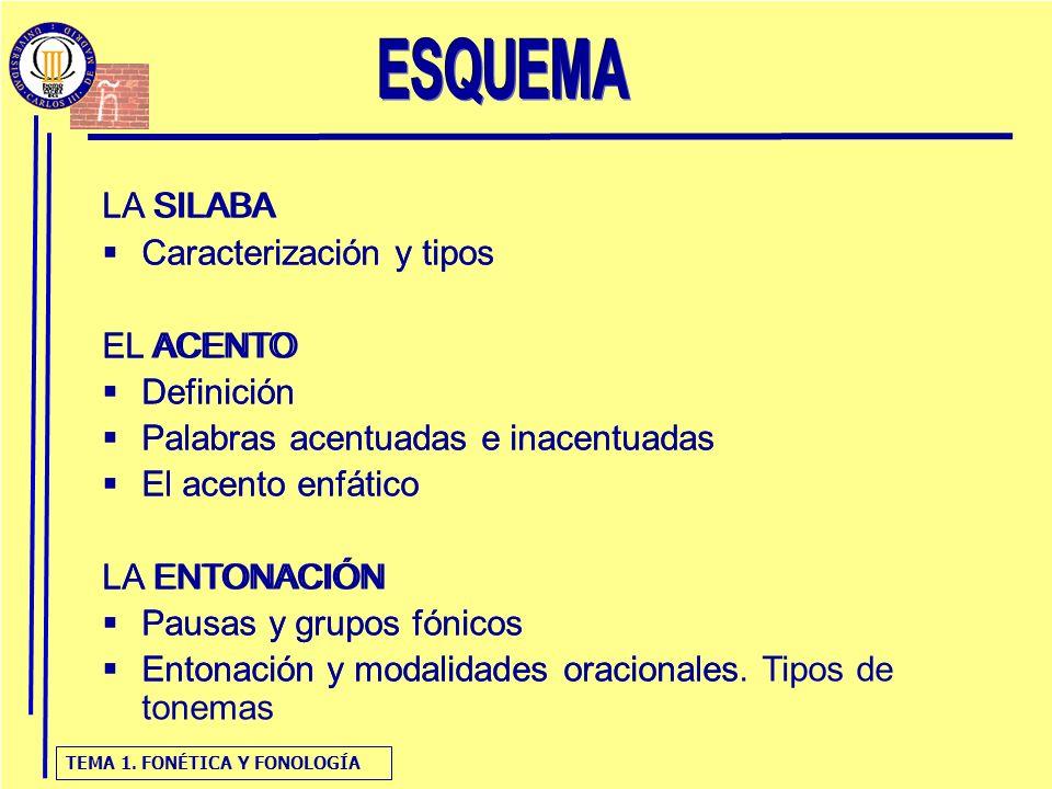 TEMA 1. FONÉTICA Y FONOLOGÍA LA SILABA Caracterización y tipos EL ACENTO Definición Palabras acentuadas e inacentuadas El acento enfático LA ENTONACIÓ