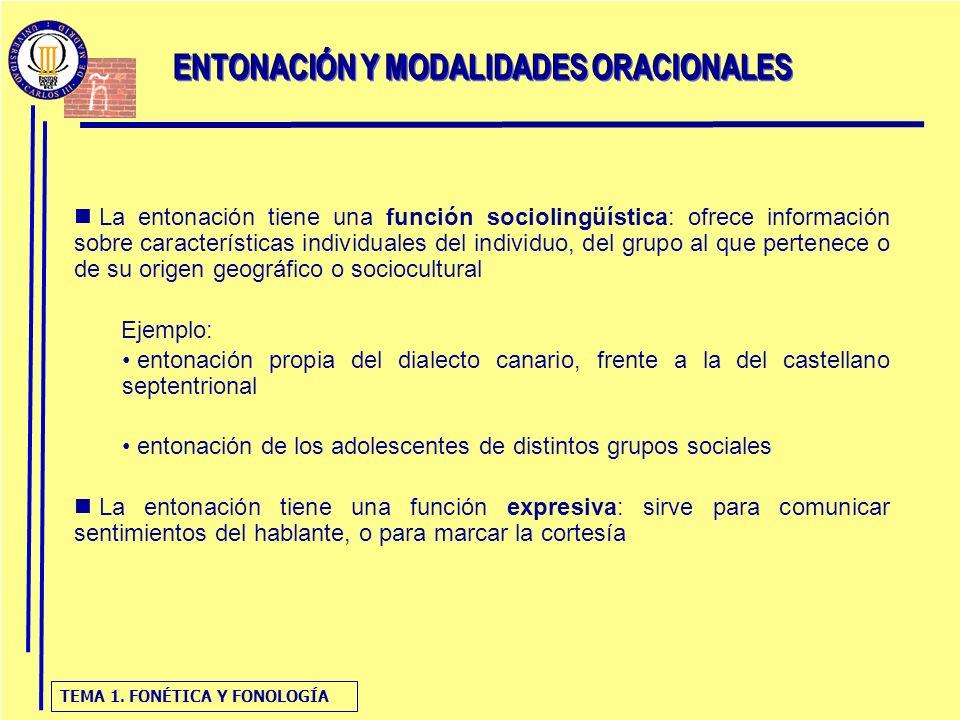 TEMA 1. FONÉTICA Y FONOLOGÍA La entonación tiene una función sociolingüística: ofrece información sobre características individuales del individuo, de