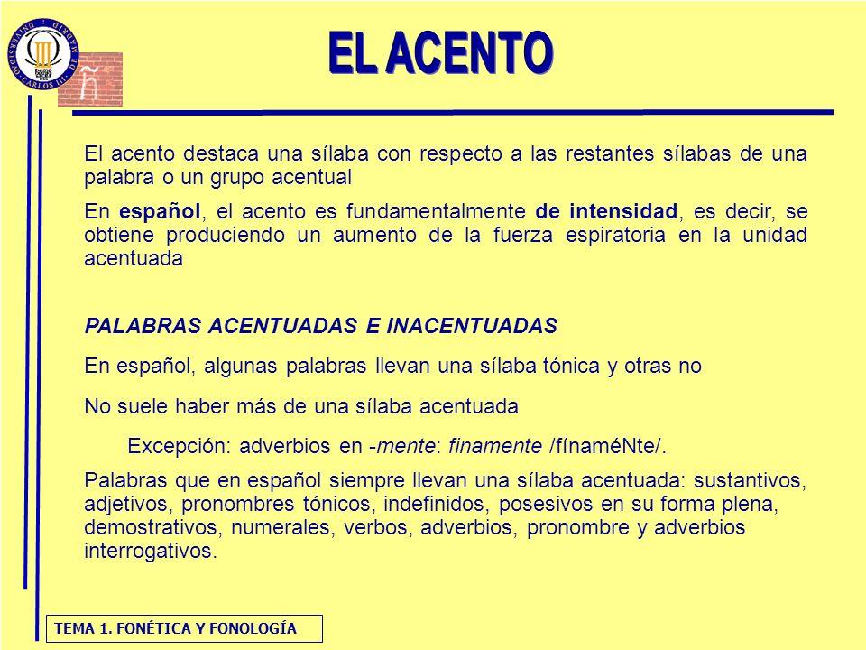 TEMA 1. FONÉTICA Y FONOLOGÍA El acento destaca una sílaba con respecto a las restantes sílabas de una palabra o un grupo acentual En español, el acent