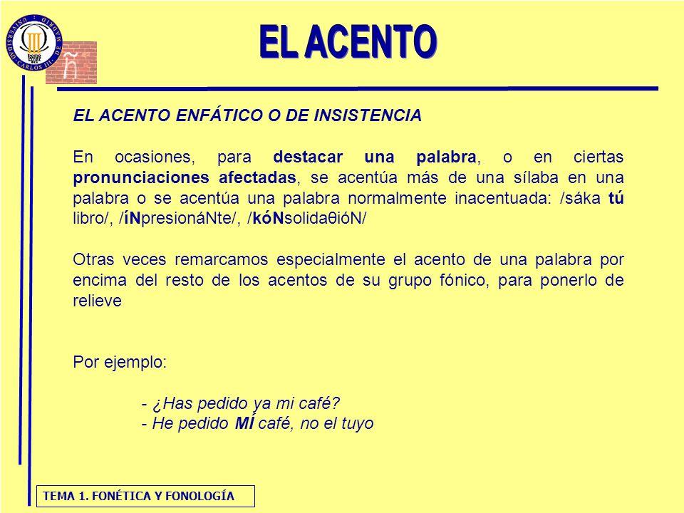 TEMA 1. FONÉTICA Y FONOLOGÍA EL ACENTO ENFÁTICO O DE INSISTENCIA: EJEMPLO