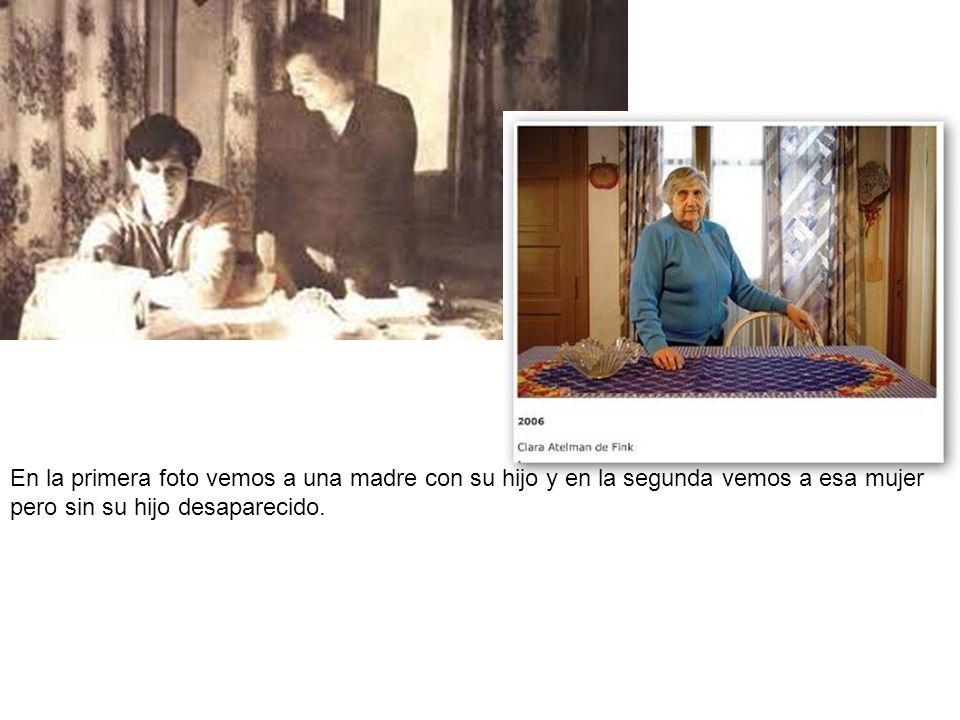 En la primera foto vemos a una madre con su hijo y en la segunda vemos a esa mujer pero sin su hijo desaparecido.