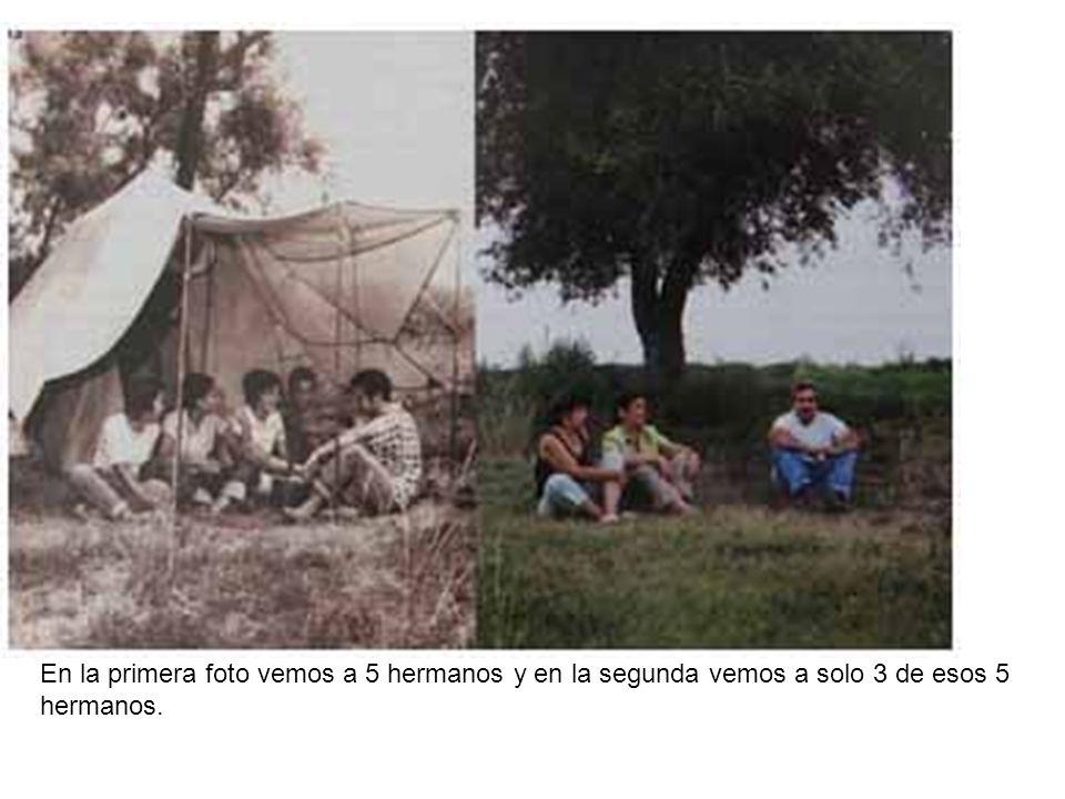 En la primera foto vemos a 5 hermanos y en la segunda vemos a solo 3 de esos 5 hermanos.