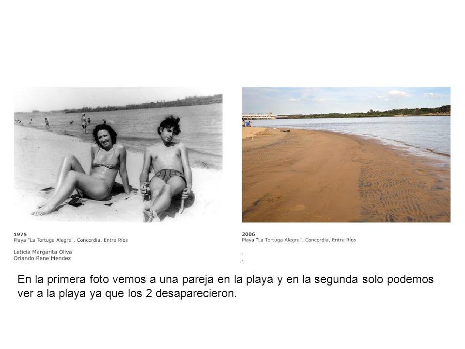 En la primera foto vemos a una pareja en la playa y en la segunda solo podemos ver a la playa ya que los 2 desaparecieron.