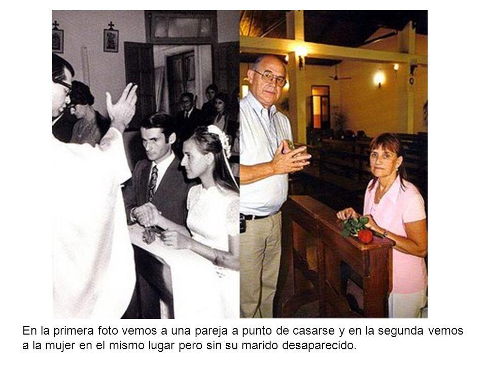 En la primera foto vemos a una pareja a punto de casarse y en la segunda vemos a la mujer en el mismo lugar pero sin su marido desaparecido.