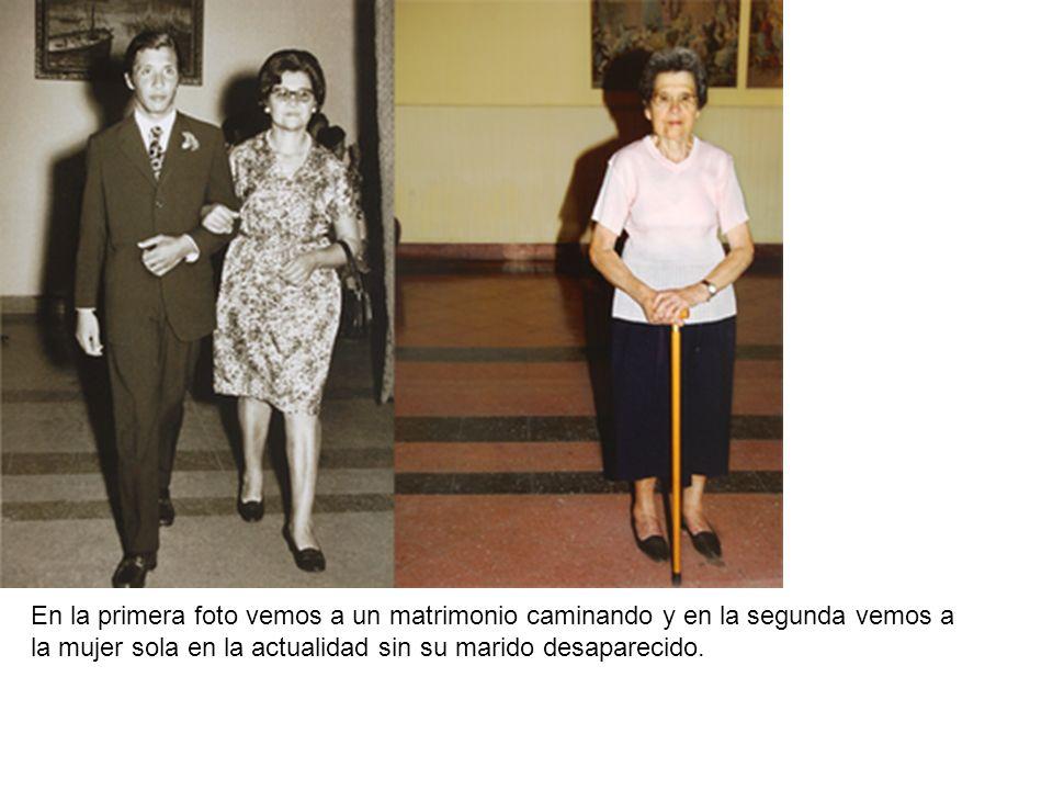 En la primera foto vemos a un matrimonio caminando y en la segunda vemos a la mujer sola en la actualidad sin su marido desaparecido.