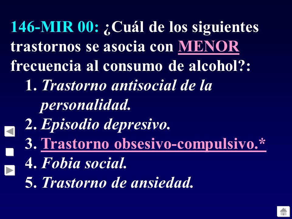 146-MIR 00: ¿Cuál de los siguientes trastornos se asocia con MENOR frecuencia al consumo de alcohol?: 1. Trastorno antisocial de la personalidad. 2. E