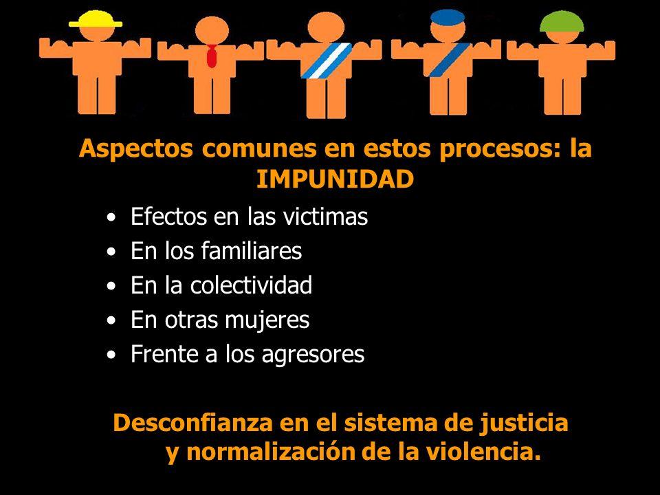 Aspectos comunes en estos procesos: la IMPUNIDAD Efectos en las victimas En los familiares En la colectividad En otras mujeres Frente a los agresores Desconfianza en el sistema de justicia y normalización de la violencia.