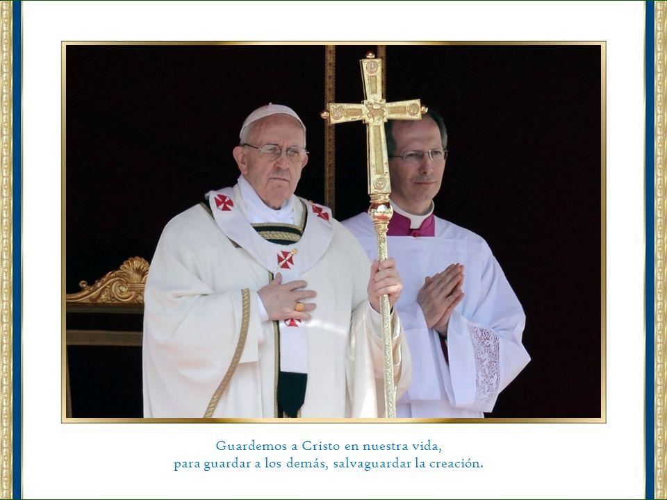 Imploro la intercesión de la Virgen María, de san José, de los Apóstoles san Pedro y san Pablo, de san Francisco, para que el Espíritu Santo acompañe mi ministerio, y a todos vosotros os digo: Orad por mí.