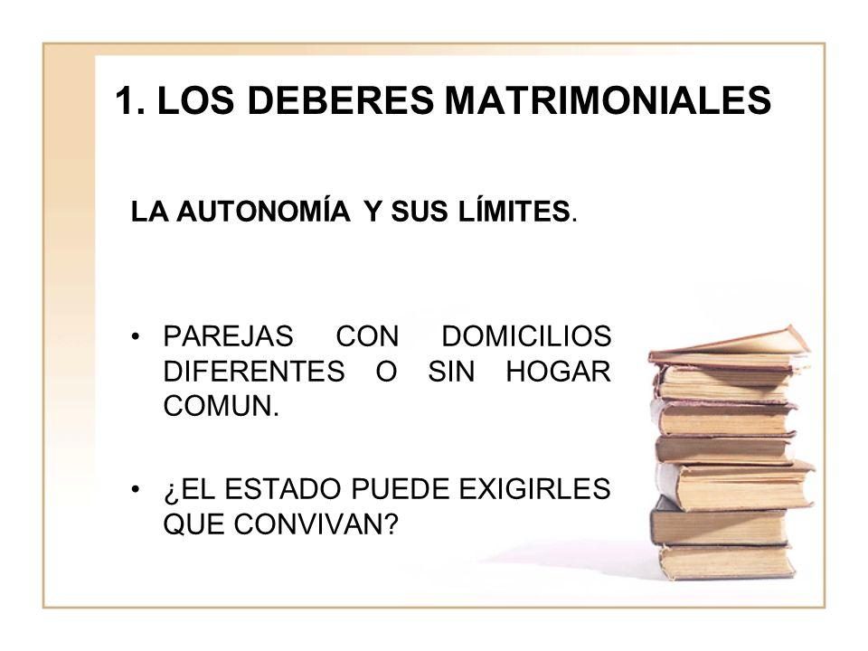 1.LOS DEBERES MATRIMONIALES LA AUTONOMÍA Y SUS LÍMITES.