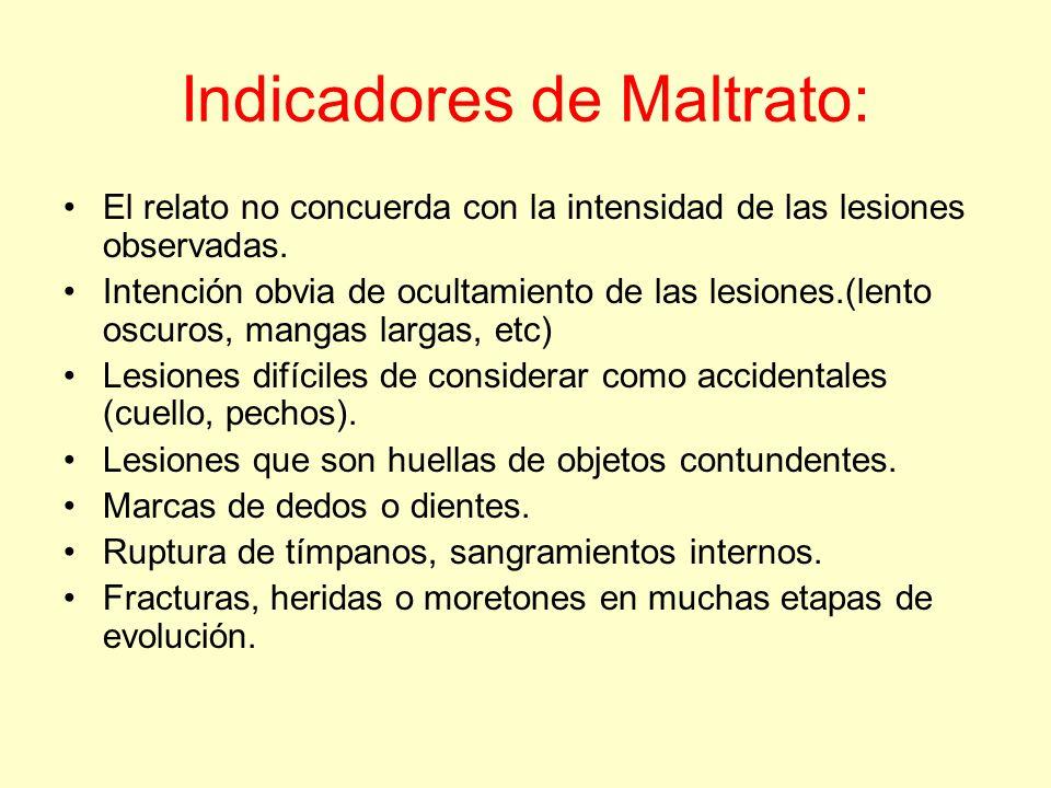Indicadores de Maltrato: El relato no concuerda con la intensidad de las lesiones observadas. Intención obvia de ocultamiento de las lesiones.(lento o