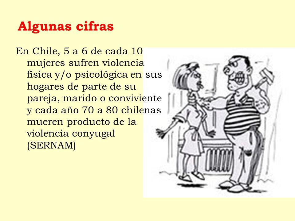 Algunas cifras En Chile, 5 a 6 de cada 10 mujeres sufren violencia física y/o psicológica en sus hogares de parte de su pareja, marido o conviviente y