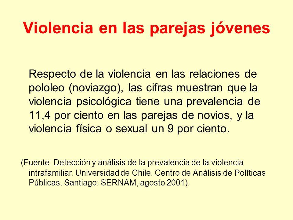 Violencia en las parejas jóvenes Respecto de la violencia en las relaciones de pololeo (noviazgo), las cifras muestran que la violencia psicológica ti