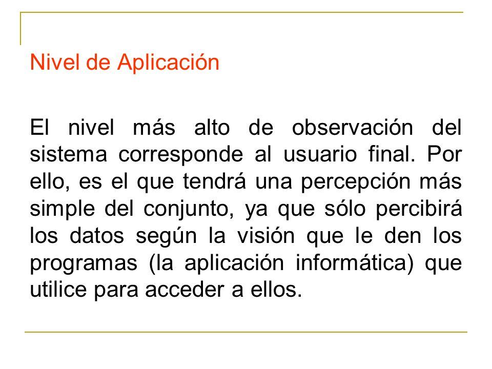 Nivel de Aplicación El nivel más alto de observación del sistema corresponde al usuario final. Por ello, es el que tendrá una percepción más simple de