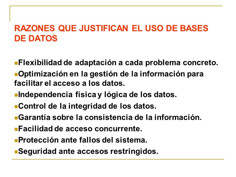 RAZONES QUE JUSTIFICAN EL USO DE BASES DE DATOS Flexibilidad de adaptación a cada problema concreto. Optimización en la gestión de la información para