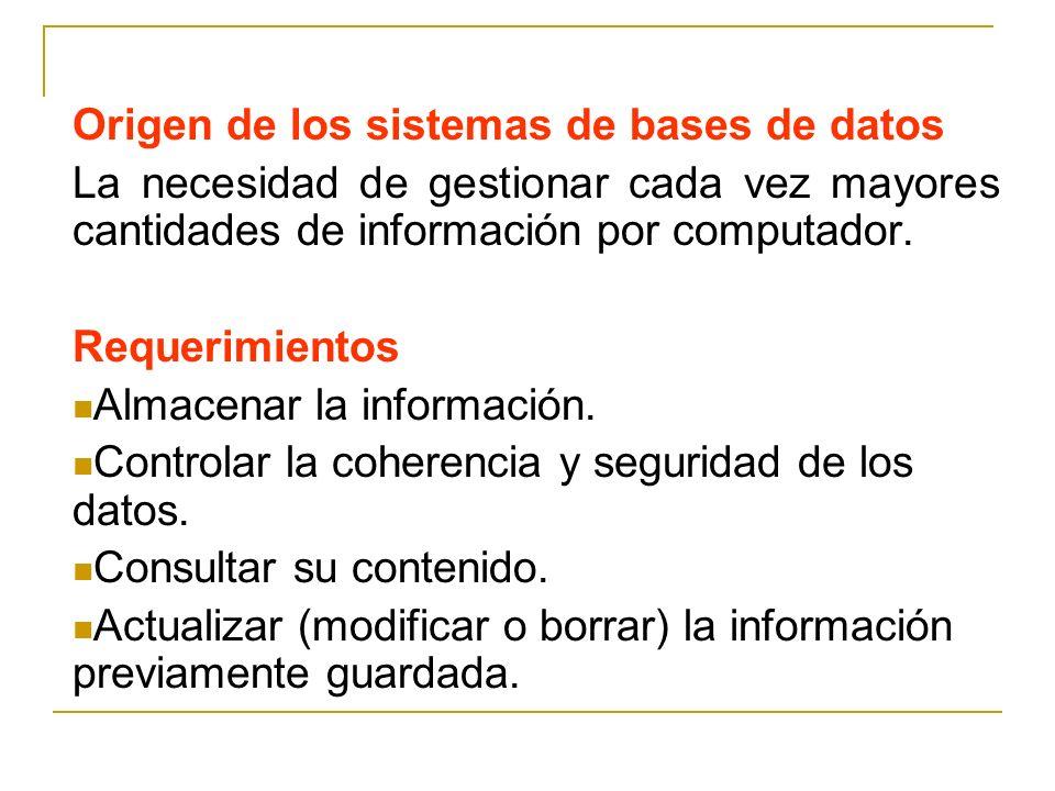 Origen de los sistemas de bases de datos La necesidad de gestionar cada vez mayores cantidades de información por computador. Requerimientos Almacenar