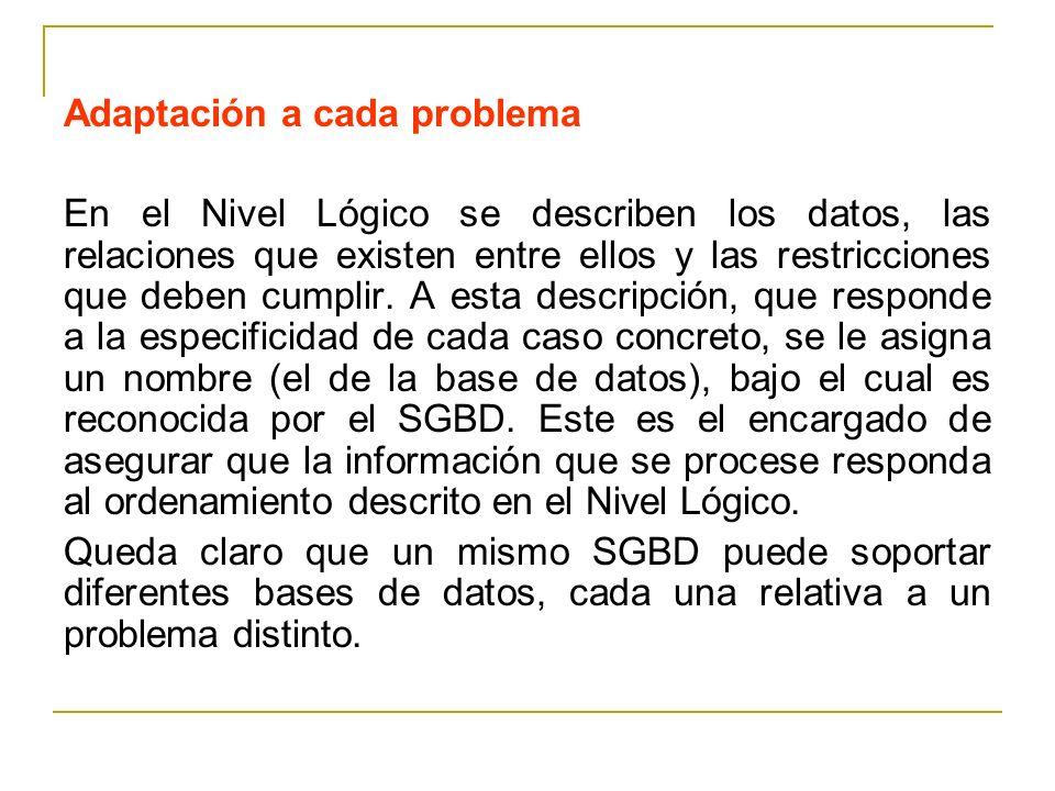Adaptación a cada problema En el Nivel Lógico se describen los datos, las relaciones que existen entre ellos y las restricciones que deben cumplir. A