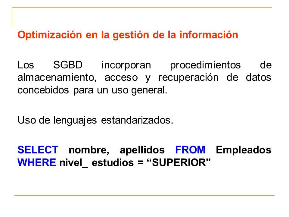 Optimización en la gestión de la información Los SGBD incorporan procedimientos de almacenamiento, acceso y recuperación de datos concebidos para un u