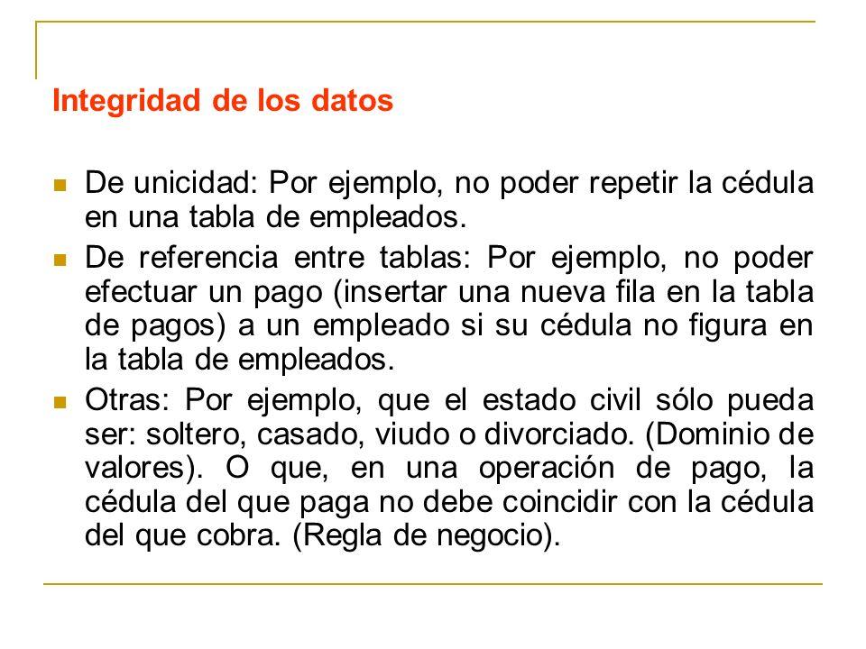 Integridad de los datos De unicidad: Por ejemplo, no poder repetir la cédula en una tabla de empleados. De referencia entre tablas: Por ejemplo, no po