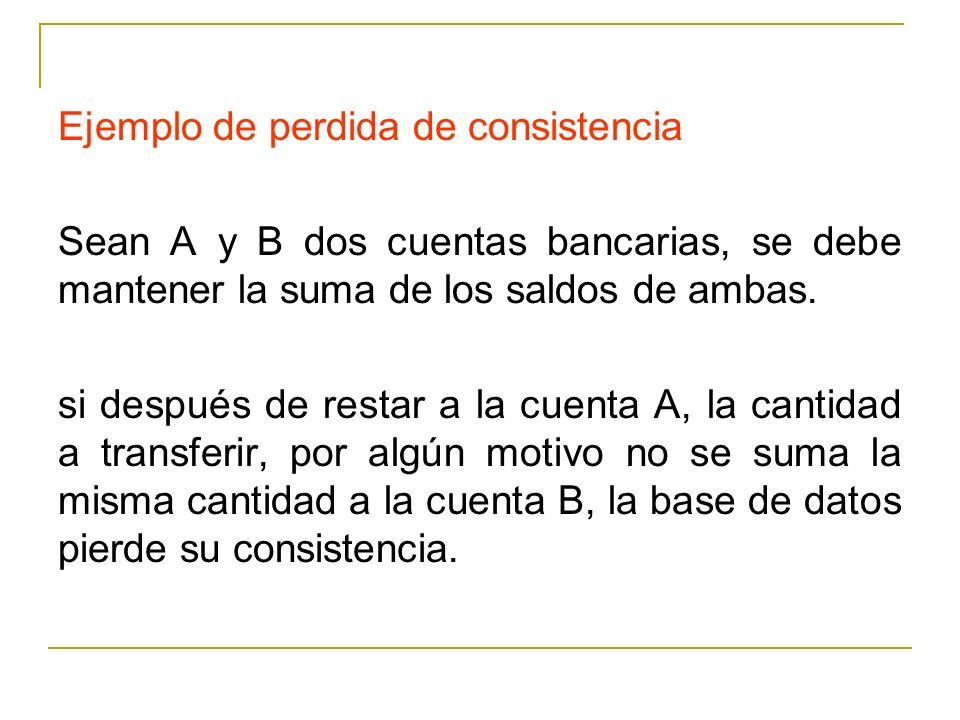 Ejemplo de perdida de consistencia Sean A y B dos cuentas bancarias, se debe mantener la suma de los saldos de ambas. si después de restar a la cuenta