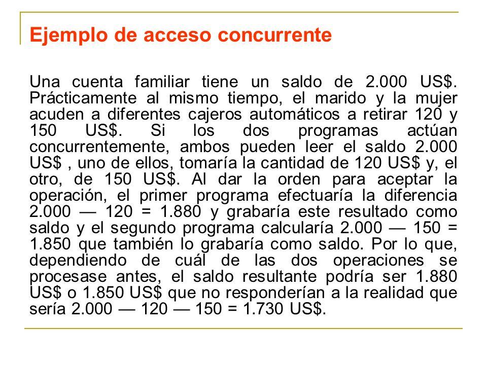 Ejemplo de acceso concurrente Una cuenta familiar tiene un saldo de 2.000 US$. Prácticamente al mismo tiempo, el marido y la mujer acuden a diferentes