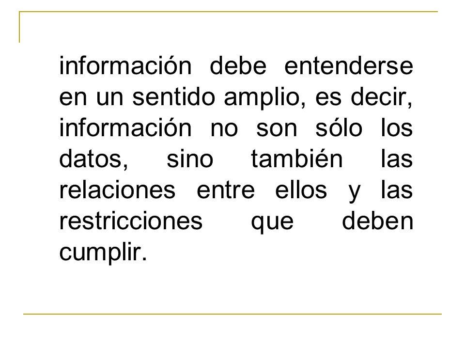 información debe entenderse en un sentido amplio, es decir, información no son sólo los datos, sino también las relaciones entre ellos y las restricci