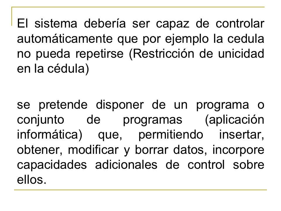 El sistema debería ser capaz de controlar automáticamente que por ejemplo la cedula no pueda repetirse (Restricción de unicidad en la cédula) se prete