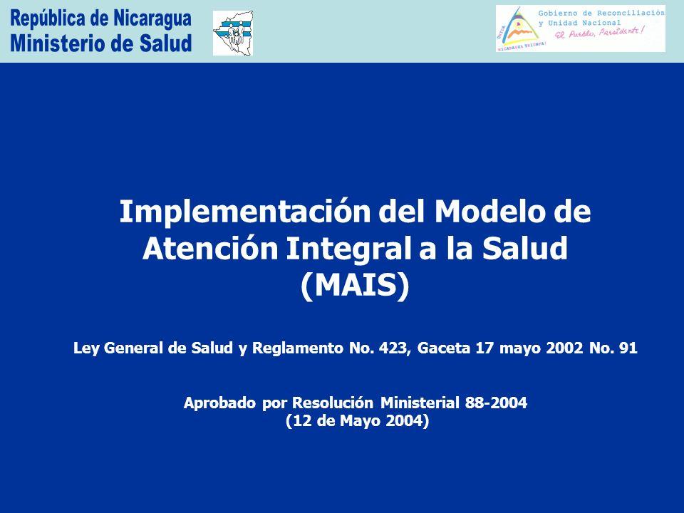 Implementación del Modelo de Atención Integral a la Salud (MAIS) Ley General de Salud y Reglamento No.