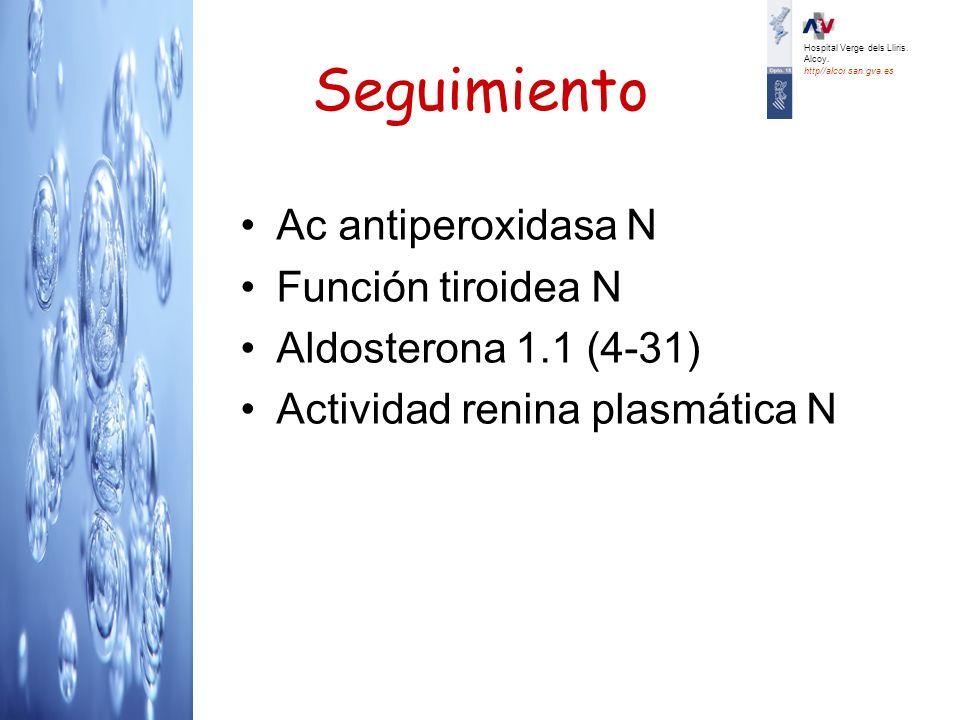 Seguimiento Ac antiperoxidasa N Función tiroidea N Aldosterona 1.1 (4-31) Actividad renina plasmática N Hospital Verge dels Lliris. Alcoy. http//alcoi