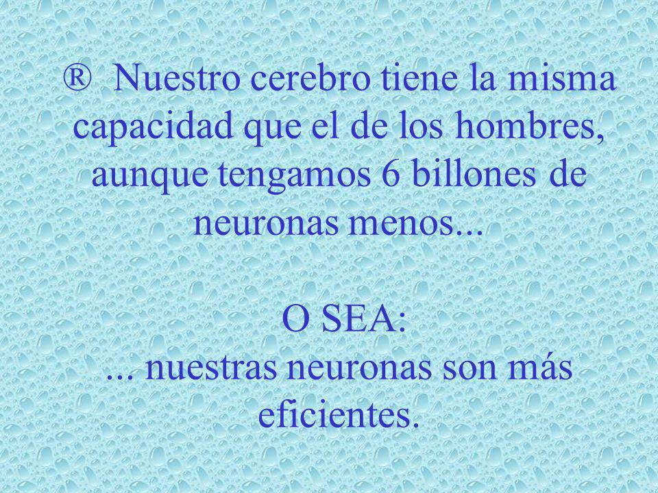 ® Nuestro cerebro tiene la misma capacidad que el de los hombres, aunque tengamos 6 billones de neuronas menos...