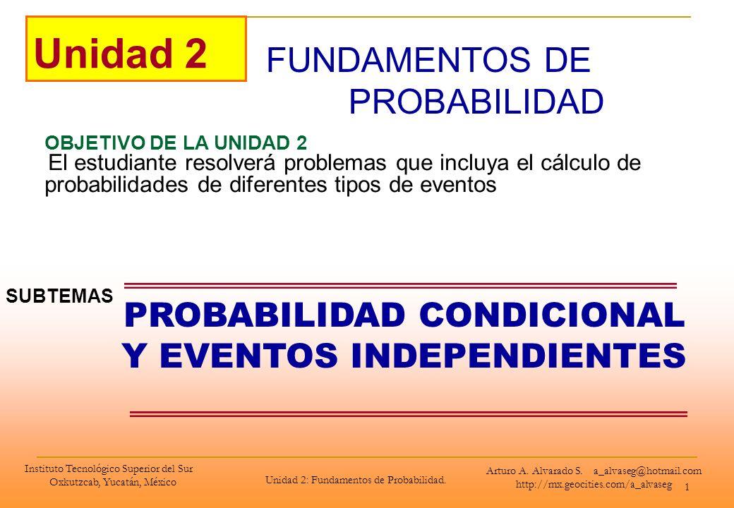 Instituto Tecnológico Superior del Sur Oxkutzcab, Yucatán, México Unidad 2: Fundamentos de Probabilidad. 1 FUNDAMENTOS DE PROBABILIDAD Unidad 2 OBJETI