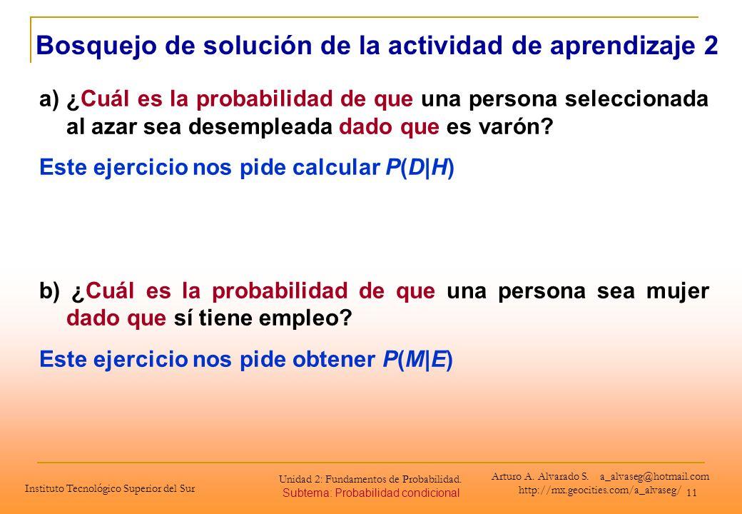 11 Bosquejo de solución de la actividad de aprendizaje 2 a)¿Cuál es la probabilidad de que una persona seleccionada al azar sea desempleada dado que e
