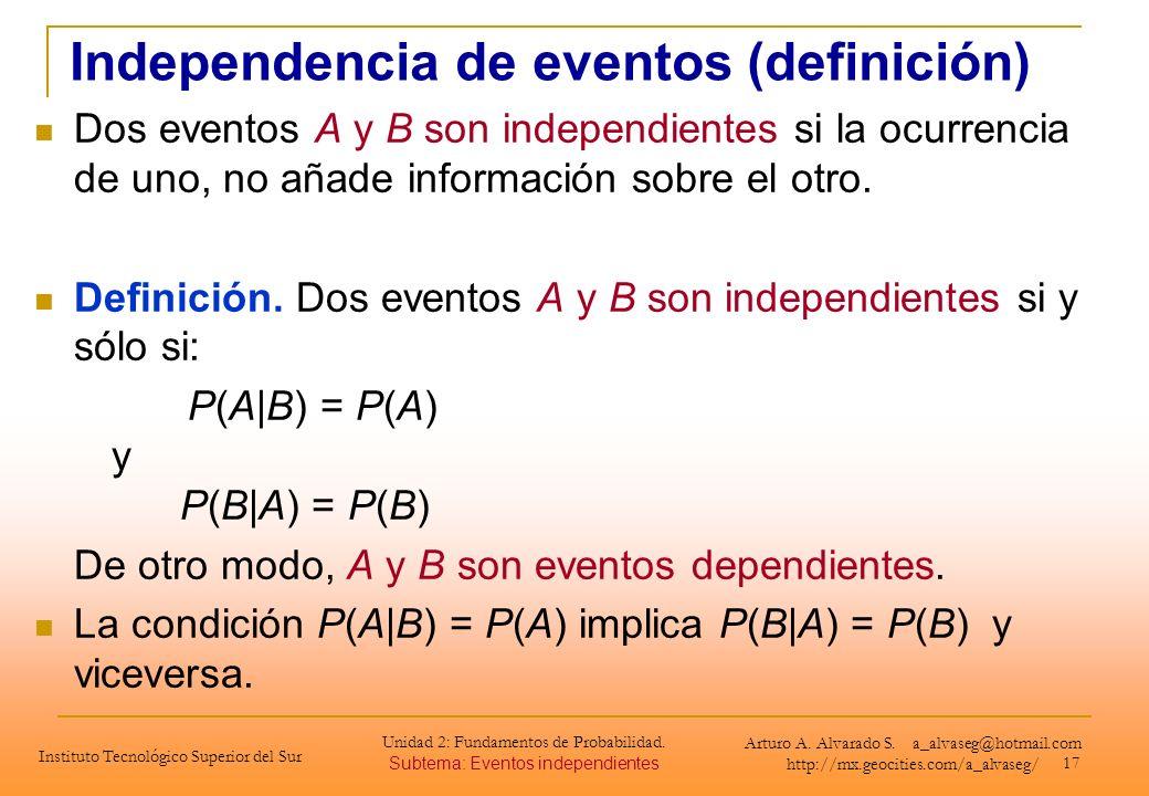 17 Dos eventos A y B son independientes si la ocurrencia de uno, no añade información sobre el otro. Definición. Dos eventos A y B son independientes