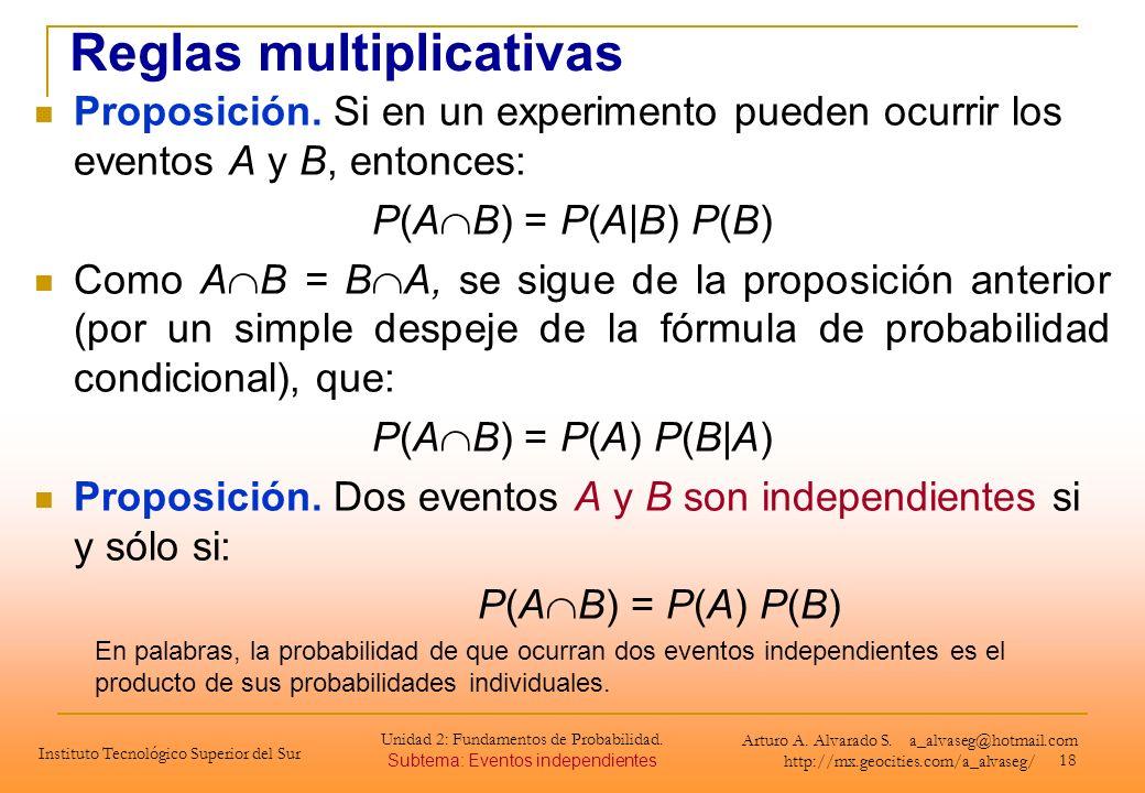 18 Proposición. Si en un experimento pueden ocurrir los eventos A y B, entonces: P(A B) = P(A|B) P(B) Como A B = B A, se sigue de la proposición anter