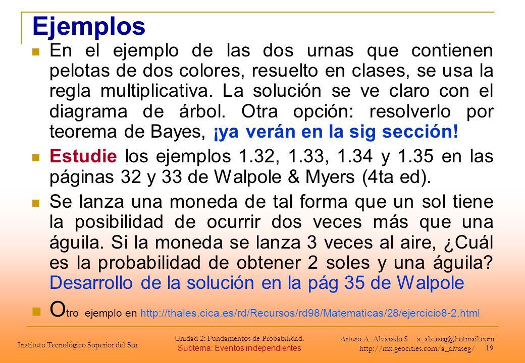 19 Ejemplos En el ejemplo de las dos urnas que contienen pelotas de dos colores, resuelto en clases, se usa la regla multiplicativa. La solución se ve