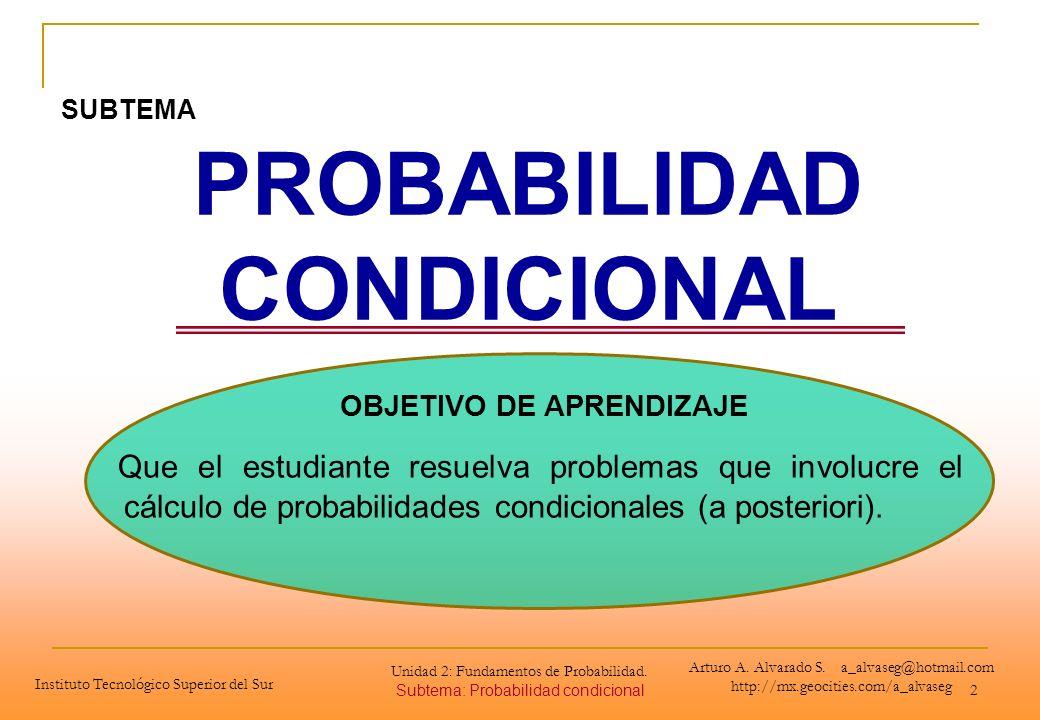 Unidad 2: Fundamentos de Probabilidad. Subtema: Probabilidad condicional 2 PROBABILIDAD CONDICIONAL OBJETIVO DE APRENDIZAJE Que el estudiante resuelva