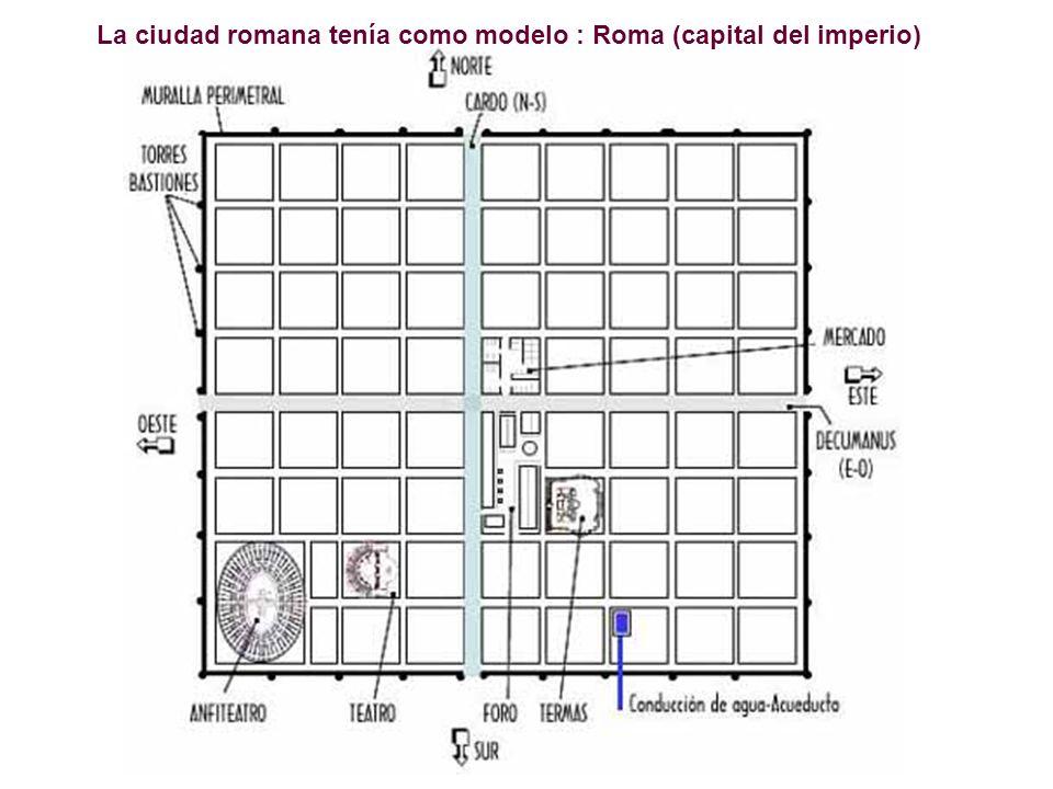 La ciudad romana tenía como modelo : Roma (capital del imperio)
