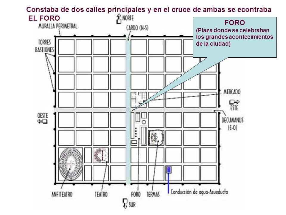 Constaba de dos calles principales y en el cruce de ambas se econtraba EL FORO FORO (Plaza donde se celebraban los grandes acontecimientos de la ciuda