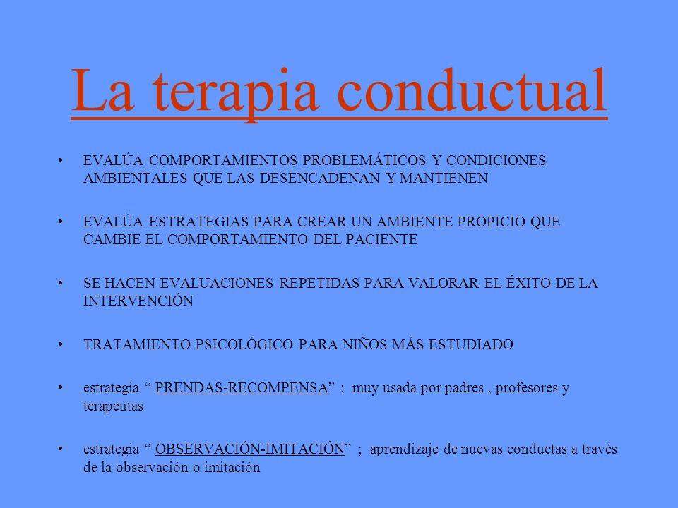 La terapia conductual EVALÚA COMPORTAMIENTOS PROBLEMÁTICOS Y CONDICIONES AMBIENTALES QUE LAS DESENCADENAN Y MANTIENEN EVALÚA ESTRATEGIAS PARA CREAR UN