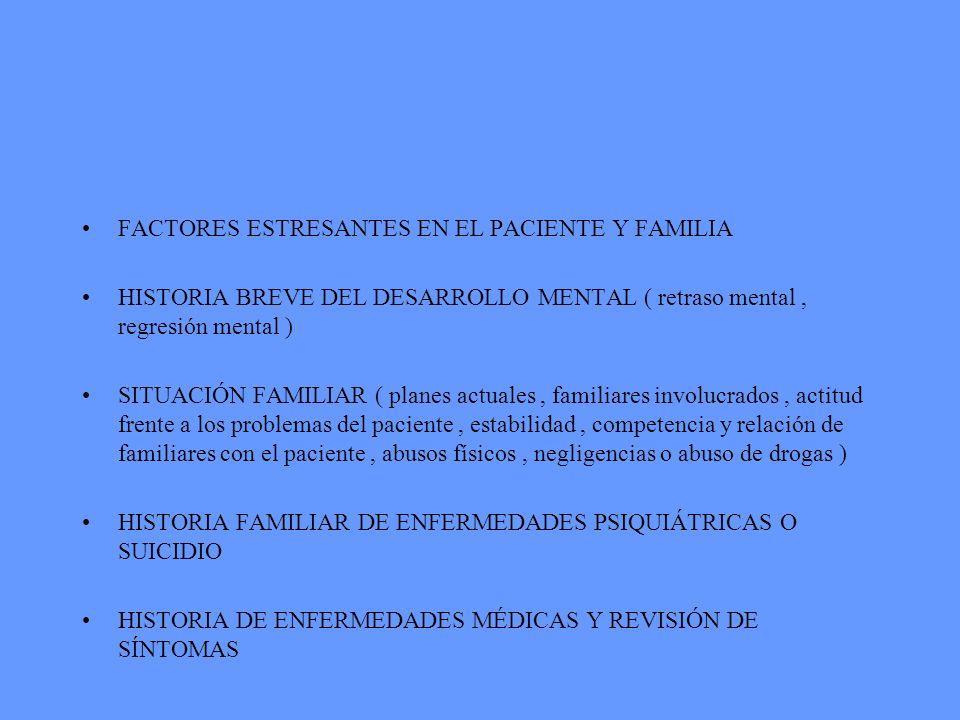 FACTORES ESTRESANTES EN EL PACIENTE Y FAMILIA HISTORIA BREVE DEL DESARROLLO MENTAL ( retraso mental, regresión mental ) SITUACIÓN FAMILIAR ( planes ac