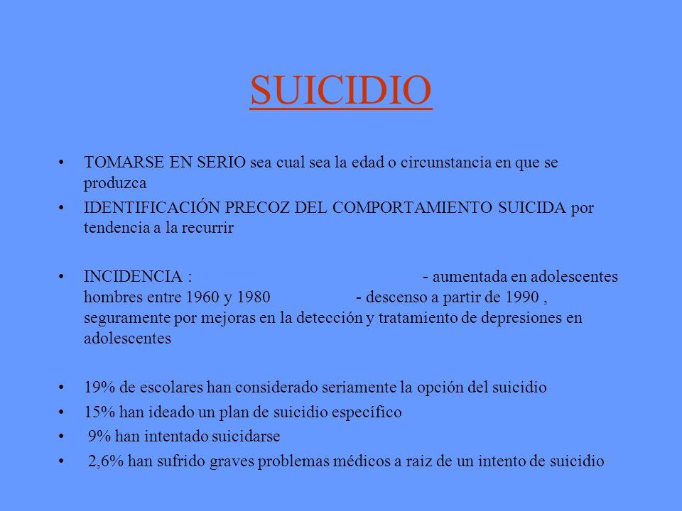 SUICIDIO TOMARSE EN SERIO sea cual sea la edad o circunstancia en que se produzca IDENTIFICACIÓN PRECOZ DEL COMPORTAMIENTO SUICIDA por tendencia a la