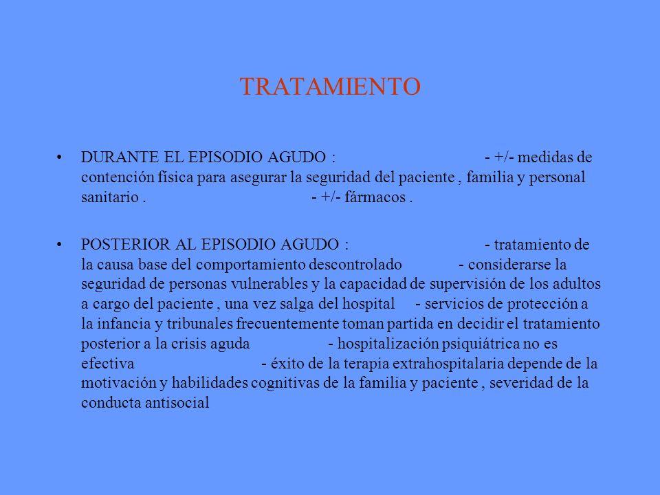 TRATAMIENTO DURANTE EL EPISODIO AGUDO : - +/- medidas de contención física para asegurar la seguridad del paciente, familia y personal sanitario. - +/