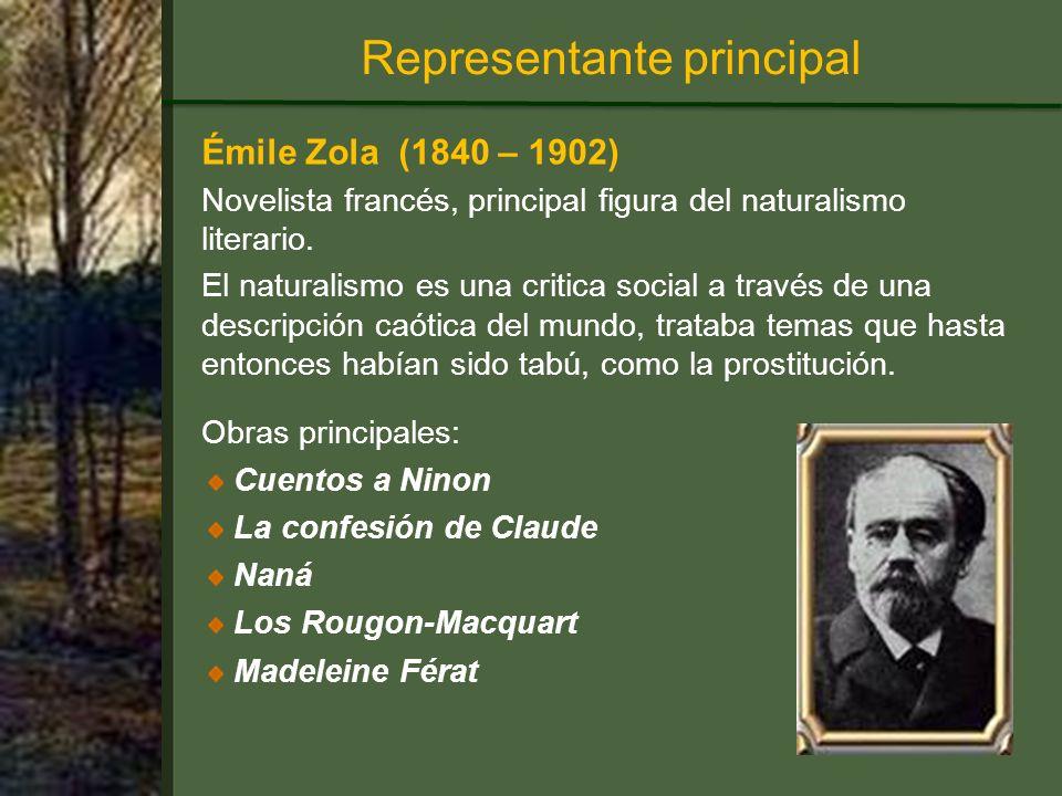 Émile Zola (1840 – 1902) Novelista francés, principal figura del naturalismo literario.